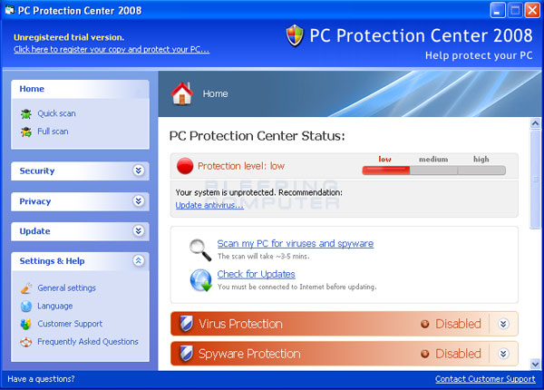 PC Protection Center 2008 screen shot