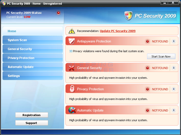 Screen shot of PC Security 2009
