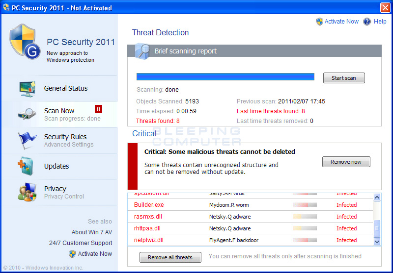 PC Security 2011 screen shot