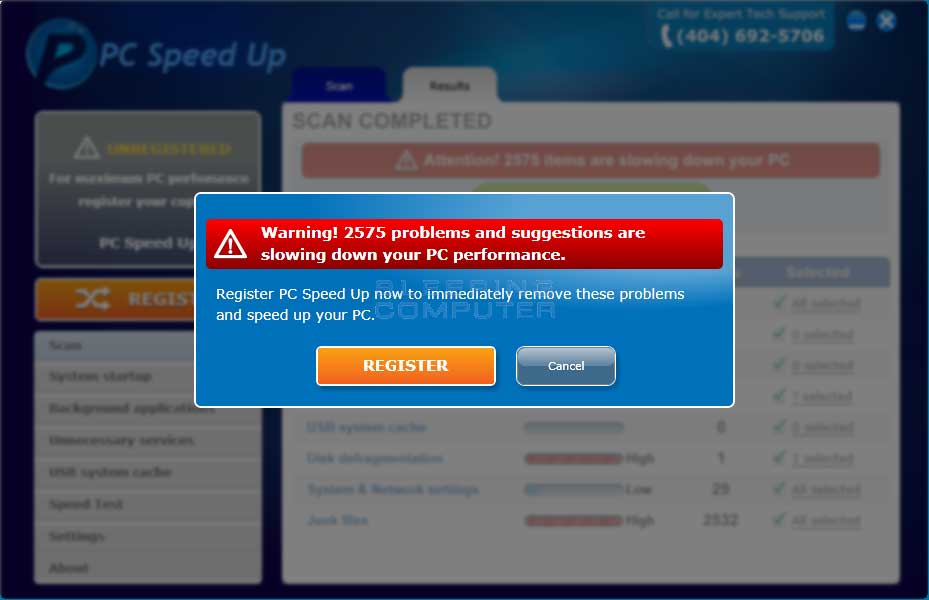 PC Speed Up Warning