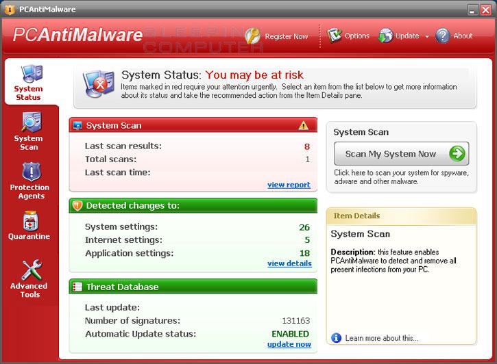 PCAntiMalware screen shot