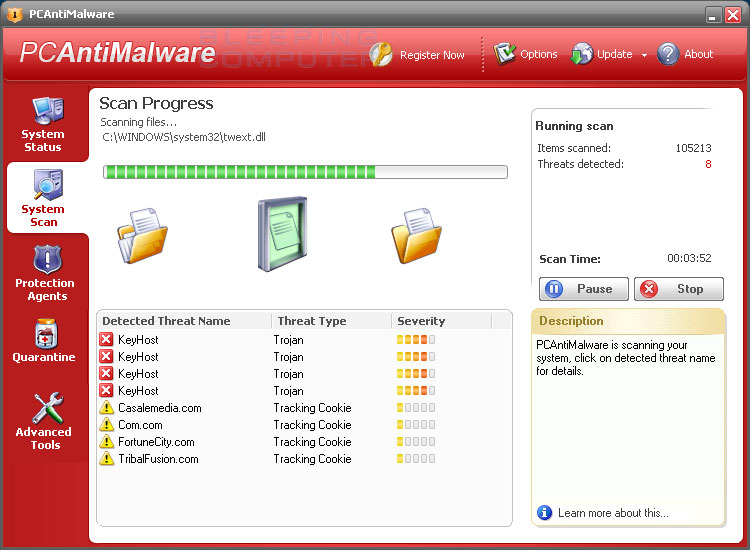 PCAntiMalware scanning a computer