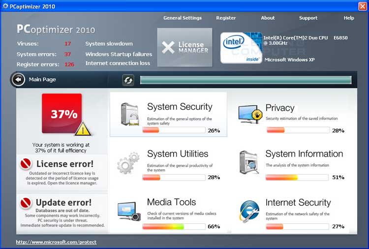 PCoptimizer 2010 screen shot