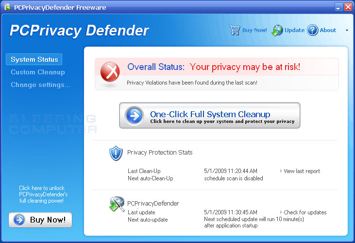 Main screen of PCPrivacy Defender