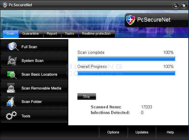 PcSecureNet screen shot