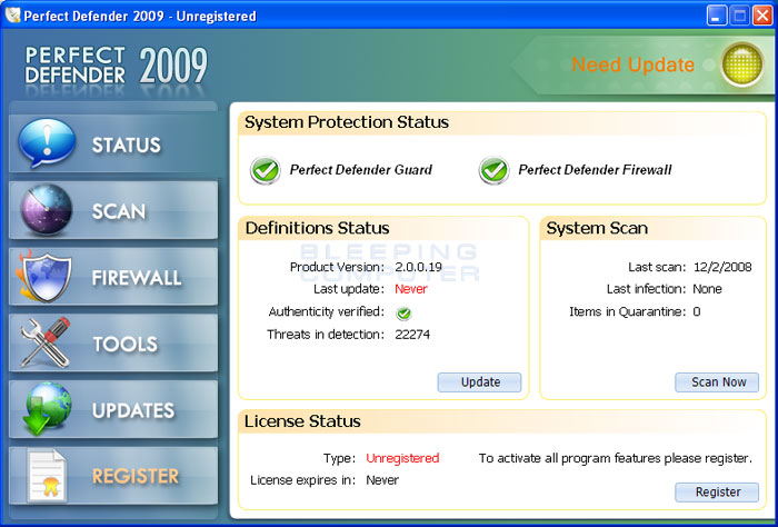 Perfect Defender 2009 screen shot
