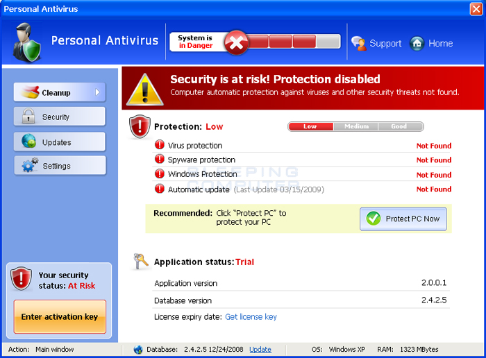 Personal Antivirus screen shot