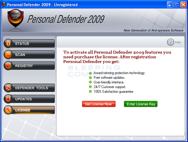 Personal Defender 2009 license screen
