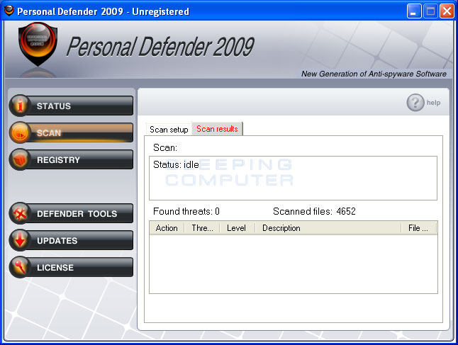 Personal Defender 2009 screen shot