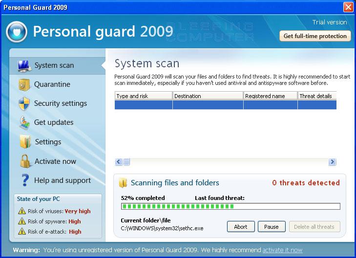 Personal Guard 2009 screen shot