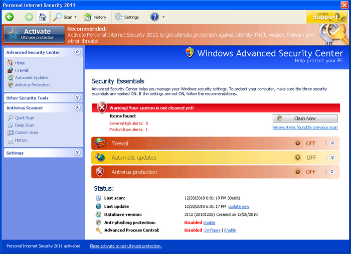Personal Internet Security 2011 screen shot