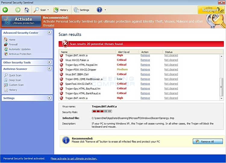 Personal Security Sentinel screen shot