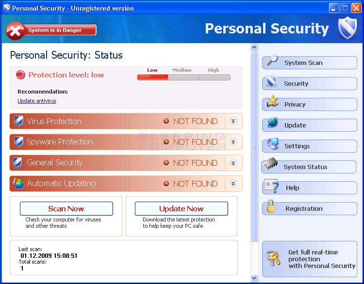 Personal Security screen shot