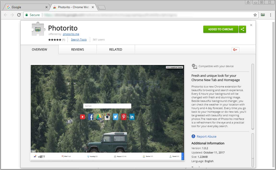 Photorito Chrome Web Store Page