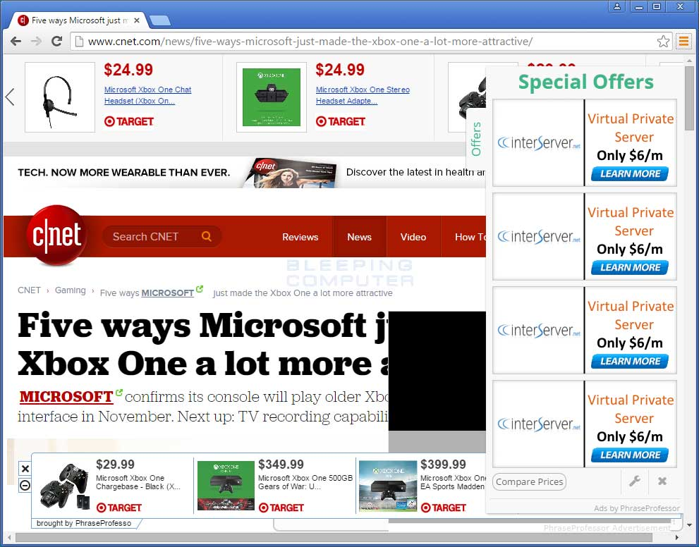 PhraseProfessor ads on CNET