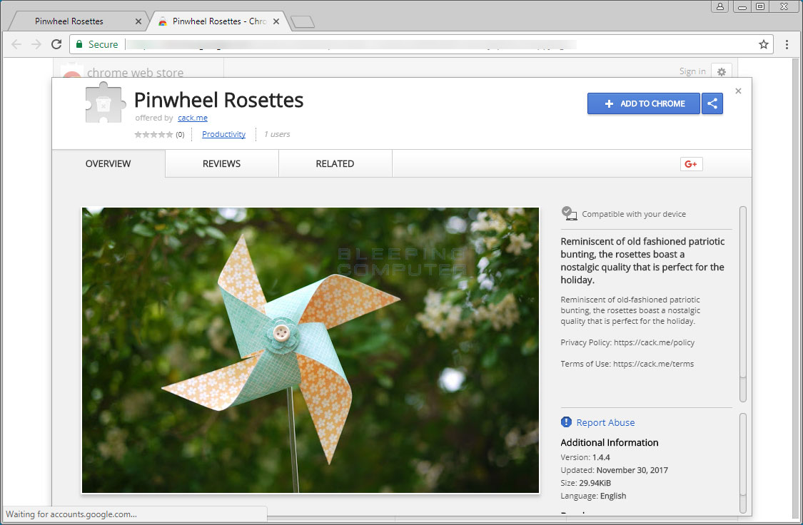 Pinwheel Rosettes Chrome Store Page