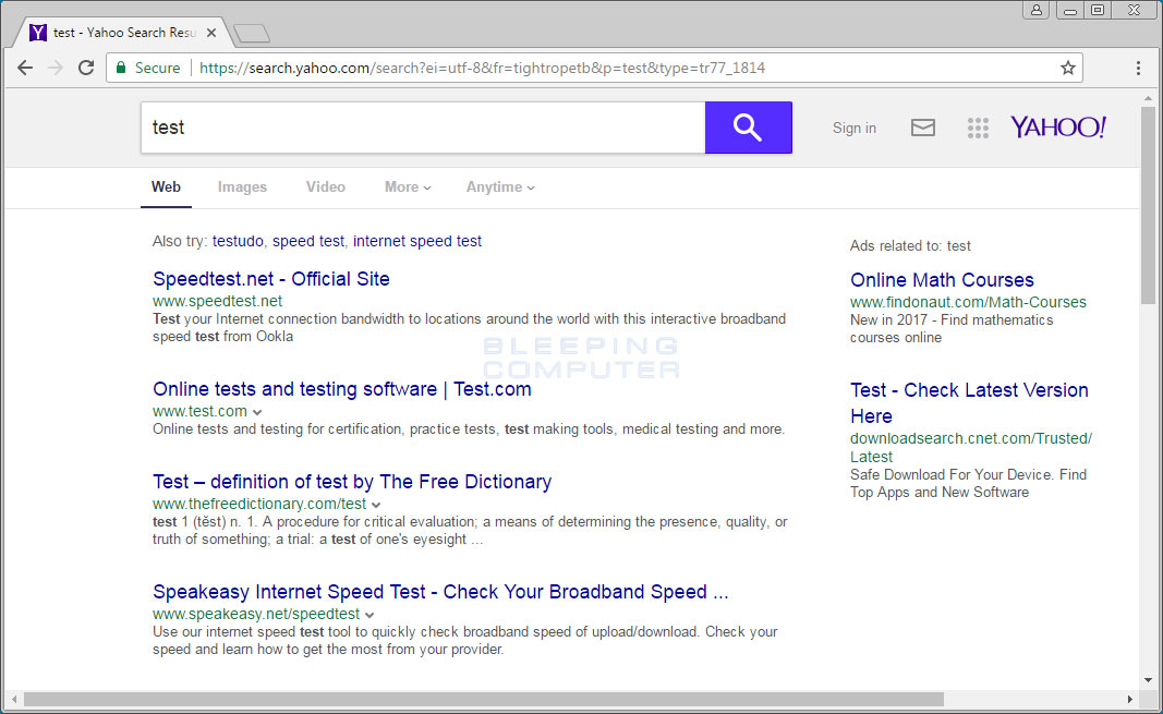 Redirected Yahoo Search