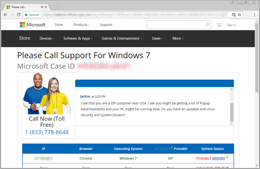 Please Call Support For Windows Tech Support Scam
