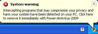 Fake alert from Power Antivirus 2009