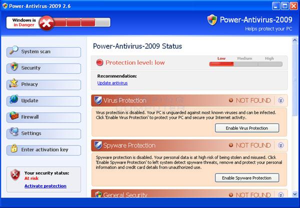 Screen shot of Power Antivirus 2009