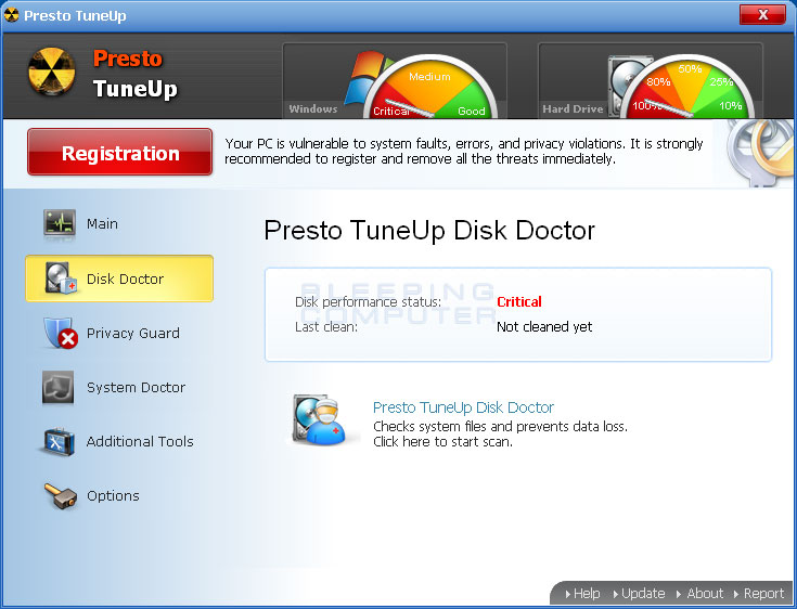 Disk Doctor screen