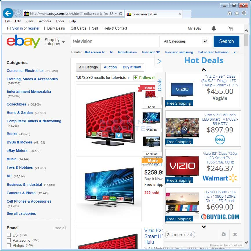 Ebay with injected Priceless advertisements