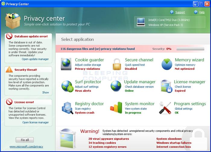 Privacy Center screen shot