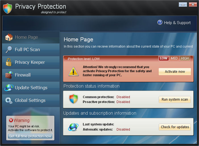 Privacy Protection screen shot