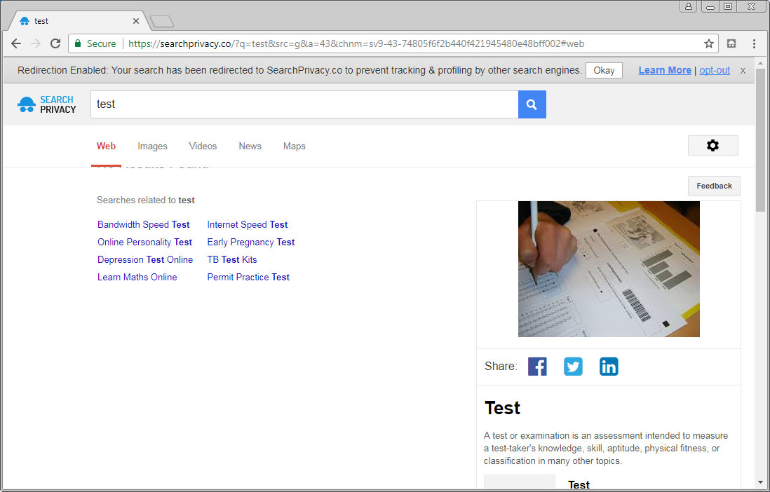 Searchprivacy.co Page