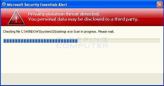 Fake Microsoft Security Essentials Alert scan