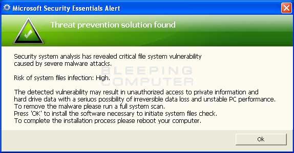 Fake Microsoft Security Essentials solution found alert