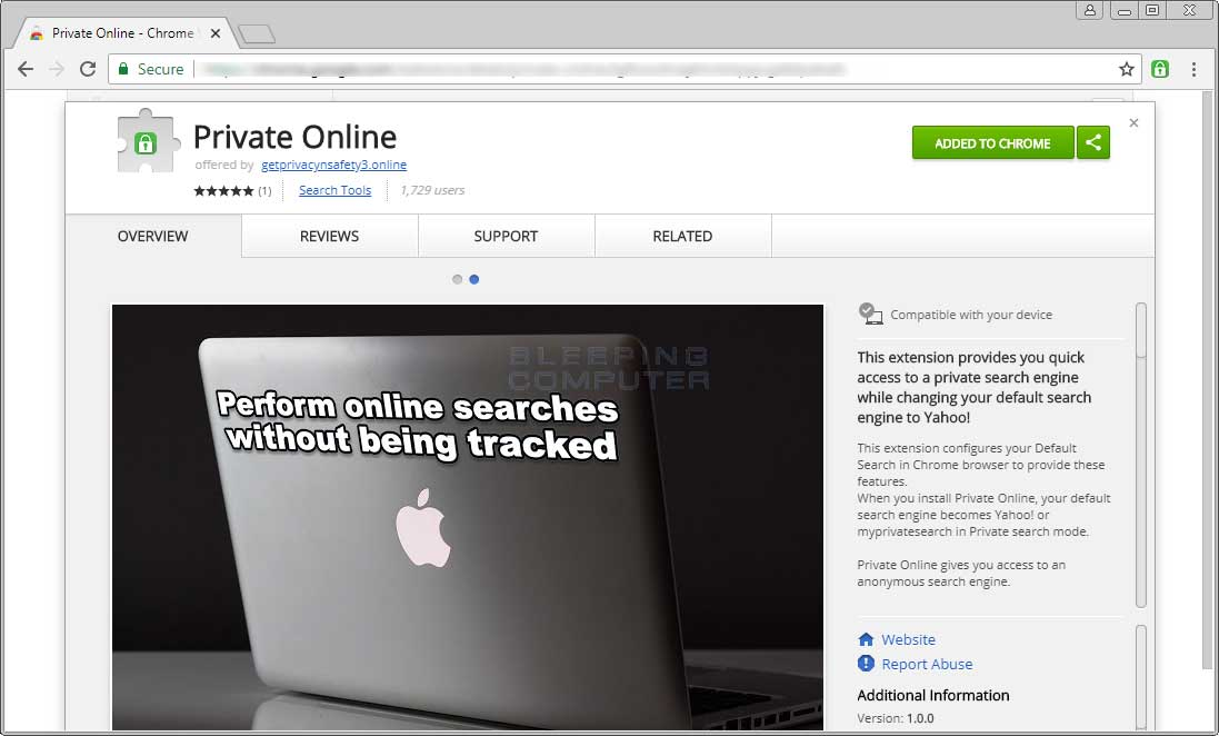 Chrome Web Store Page for Private Online
