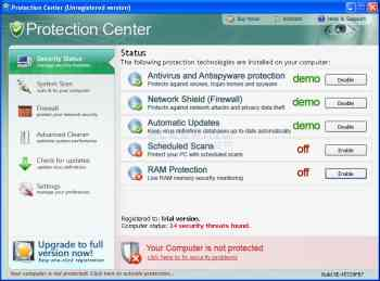 Protection Center Screenshot