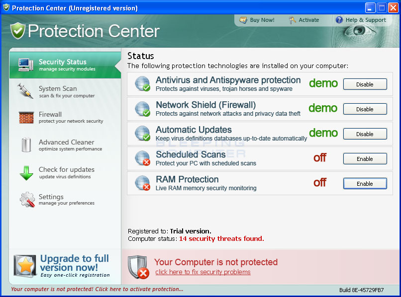 Protection Center screen shot