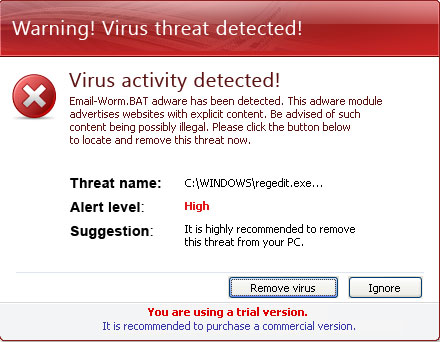 Virus Activity Detected alert