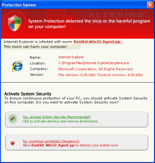 Fake alert stating Internet Explorer is infected with a rootkit