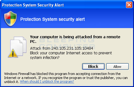 Firewall alert stating your computer is being remotely attacked