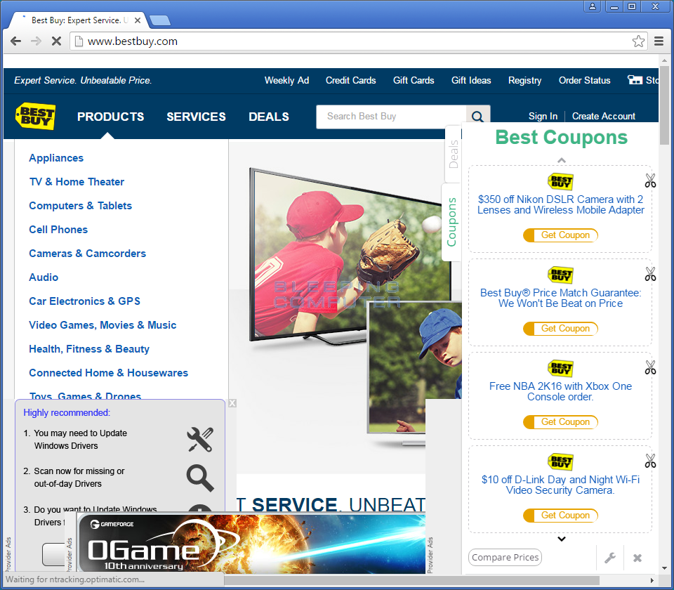Ads injected into Best Buy