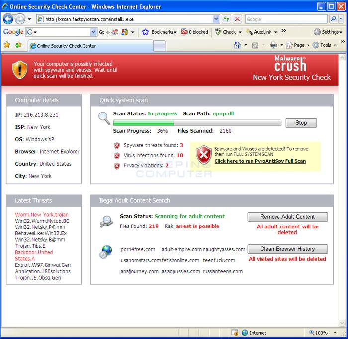 Fake web scanner