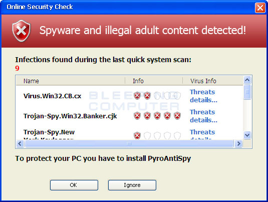 Fake web scanner results