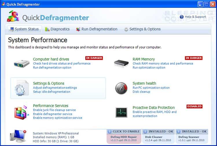Quick Defragmenter screen shot