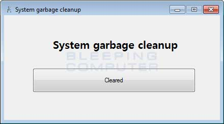 System Garbage Cleanup Screen