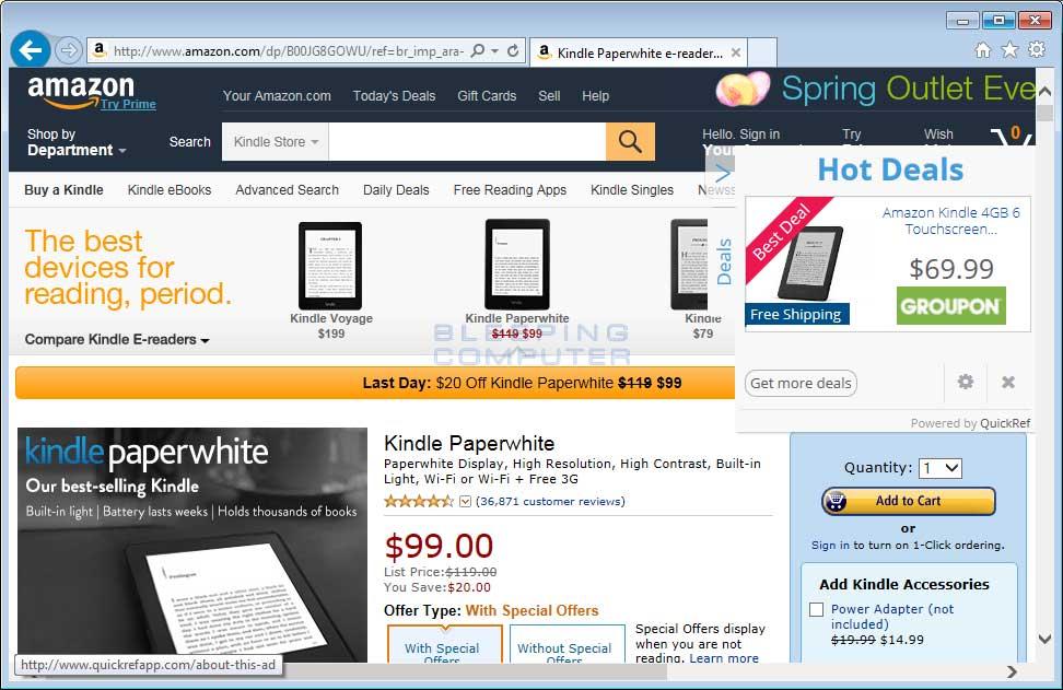 QuickRef Ads on Amazon.com