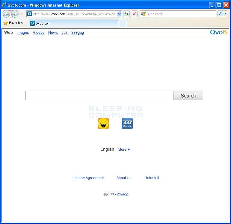 Browser hijacked to Qvo6.com