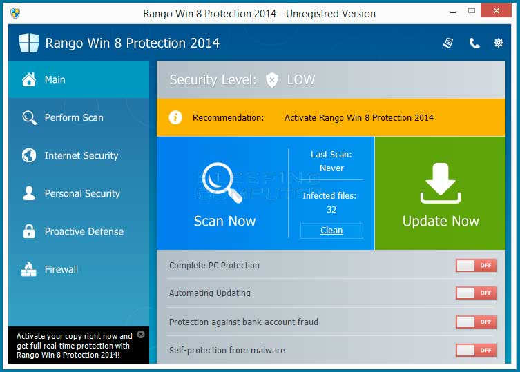 Fake Rango Win 8 Protection 2014 screen shot