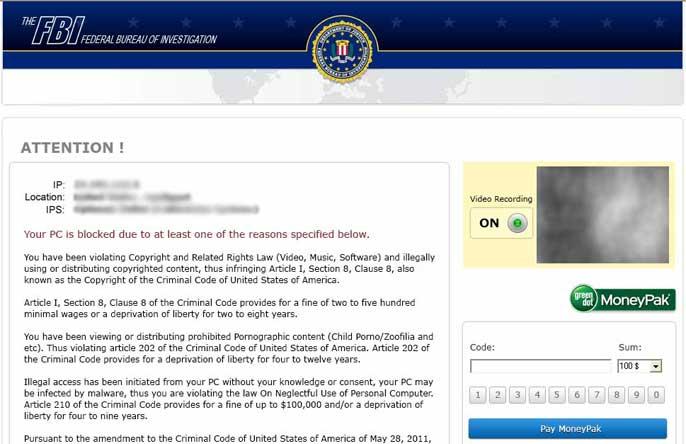 FBI MoneyPak Ransomware alert