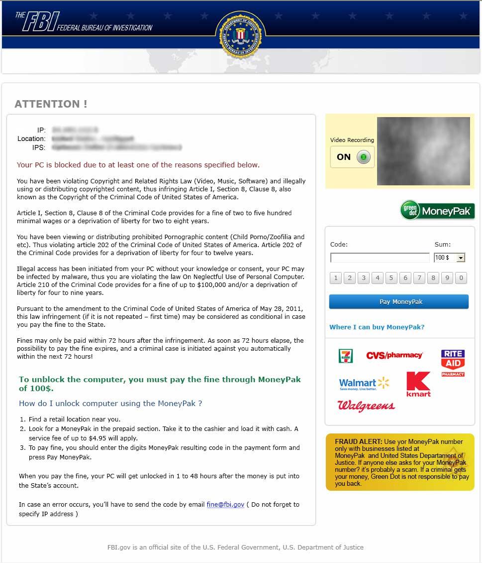 Different FBI Fake Virus Screens - Anti-Virus, Anti-Malware