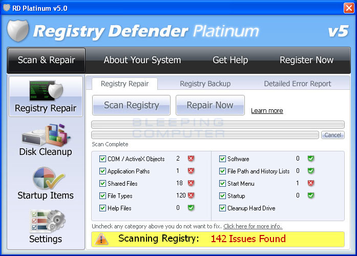 Registry Defender Platinum screen shot