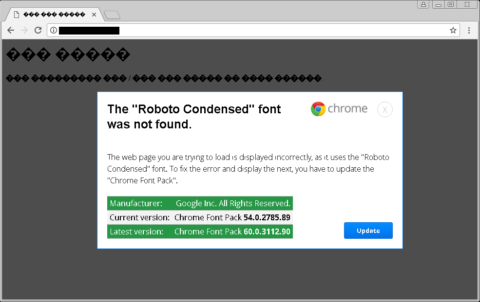 Example of Chrome Font Pack Alert